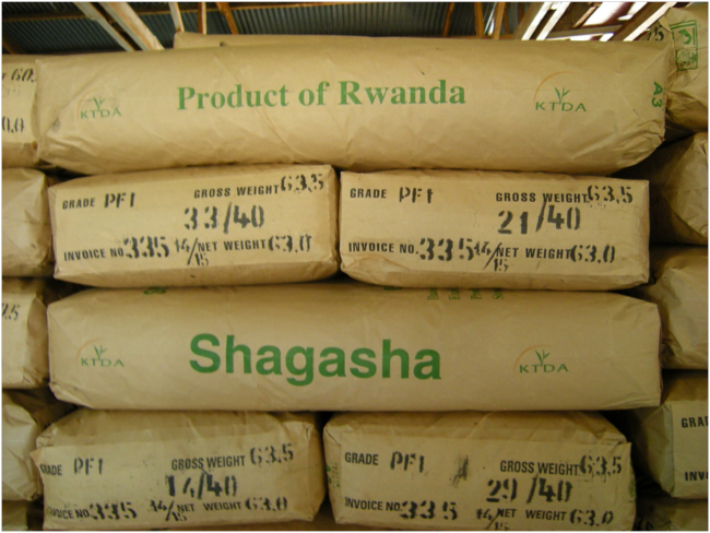 Sacks of tea, Shagasha Tea Company