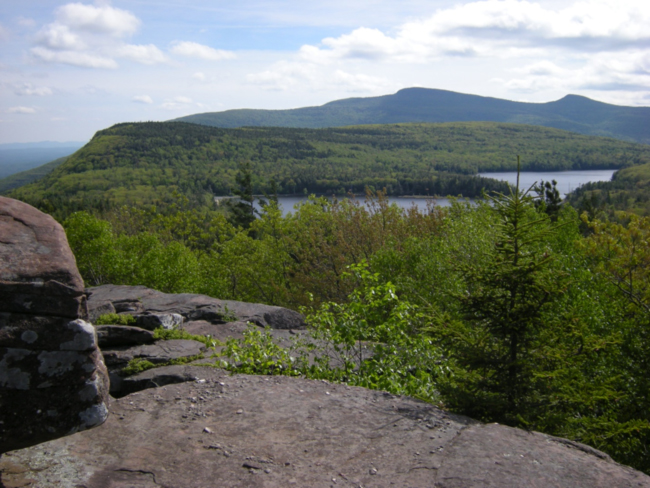 A view of the two lakes and site of the former Mountain House, Catskill Mountains afternoon. May 2015.