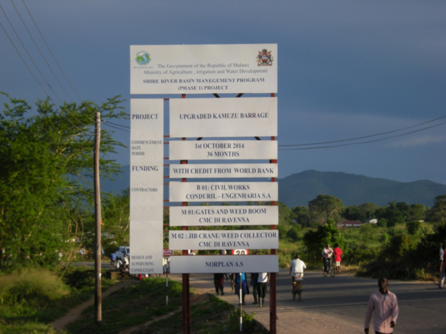 Sign for the Shire River Basin Management Program in Liwonde, Malawi