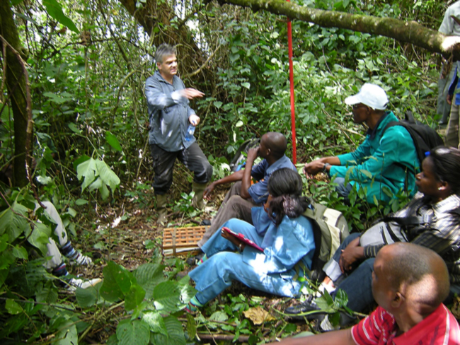 Rapid botanical survey training by William Hawthorne in the Zomba Mountain forest