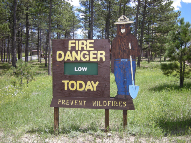 Smokey the Bear's advice in Black Forest on the day I visited