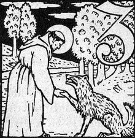 Saint Francis instructs the wolf of Gubbio. Woodcut by Carl Wiedemeyer, 1911.