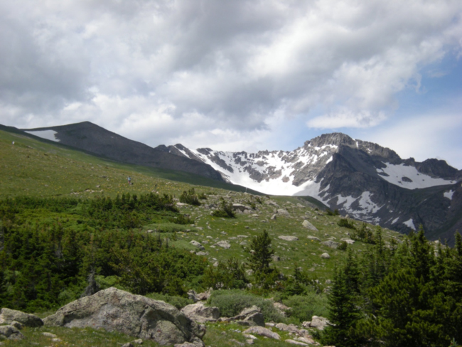View of the Arapahoe Glacier between North and South Arapahoe Peaks, Indian Peaks Wilderness, July 2015