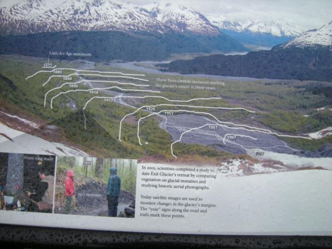 Interpretive sign showing retreat of Exit Glacier, Kenai Fjords National Park
