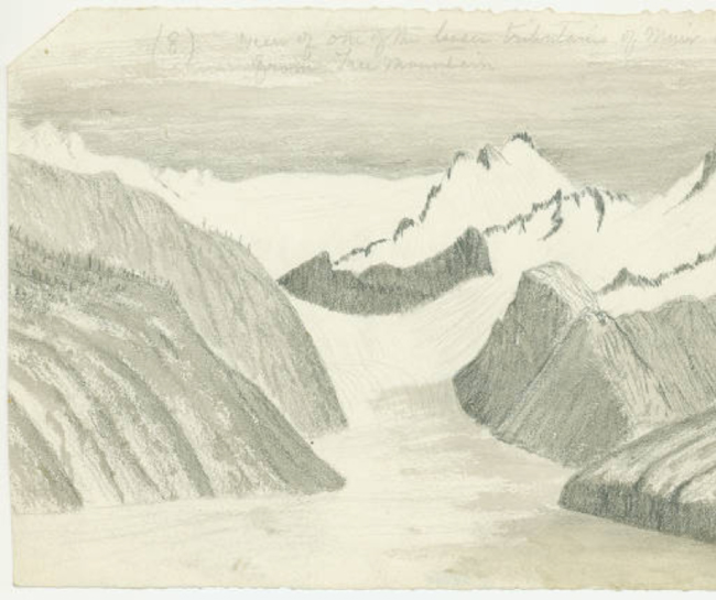 View of one of the Tributaries of Muir Glacier from Tree Mountain. Sketch by John Muir, circa 1895.