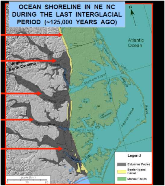 Outer Banks shoreline 125,000 years ago. Source: Riggs, NOAA presentation.