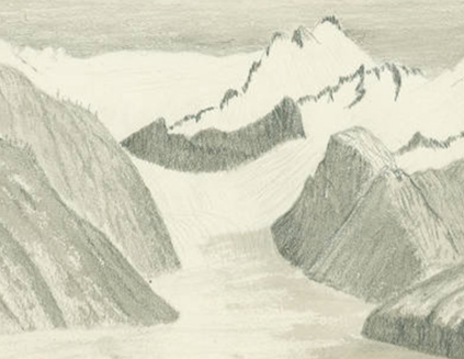 "Detail from ""View of one of the Tributaries of Muir Glacier from Tree Mountain."" Sketch by John Muir, circa 1895. Source: Holt-Atherton Special Collections, University of the Pacific, John Muir Drawings."