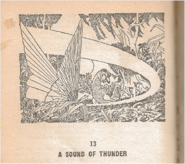 "Scan of the illustration for ""A Sound of Thunder"" from my 1967 Bantam Books edition of Ray Bradbury's The Golden Apples of the Sun."