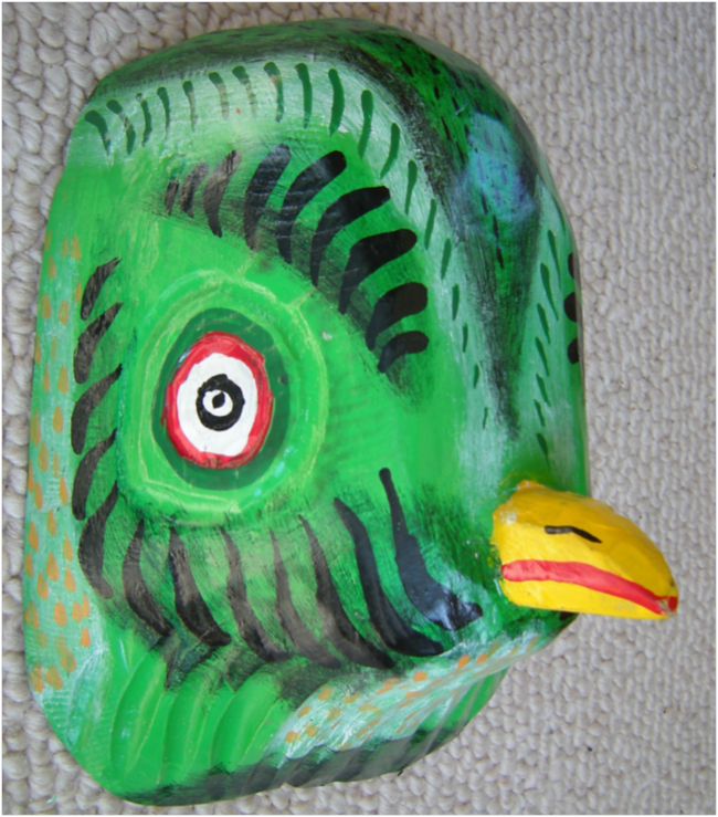 Quetzal mask, carved and painted wood, Guatemala