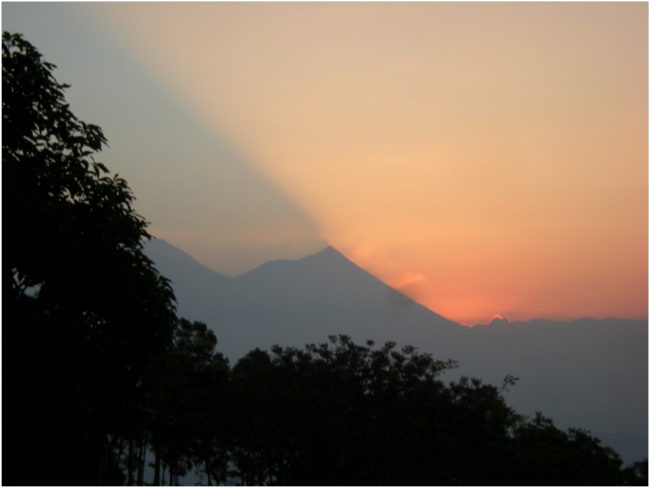 Sunrise and Volcán Fuego from Vesubio