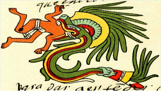 "Quetzalcoatl, in the form of a ""feathered serpent"" as depicted in the Codex Telleriano-Remensis, an Aztec manuscript from sixteenth-century Mexico"