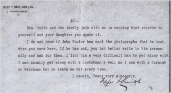Detail from letter to John Muir from Philip Smith, June 3rd, 1912. (used with permission of the John Muir Papers)