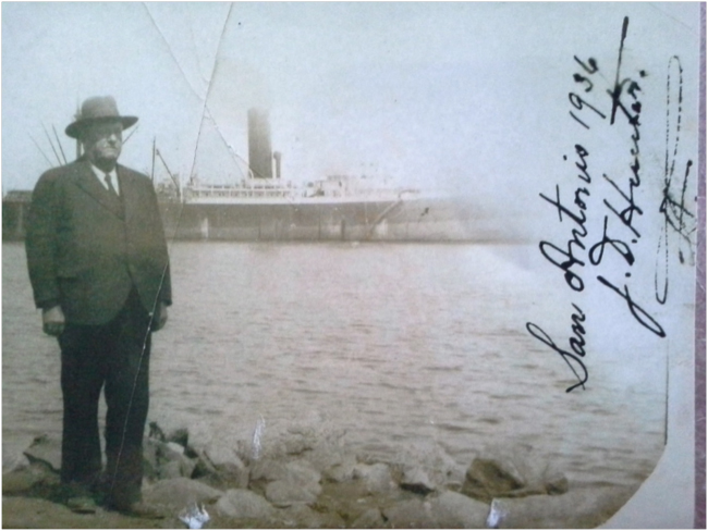 Photo of John Hunter, taken at the port of San Antonio, Chile, 1936. (photo courtesy of Harry Smith)