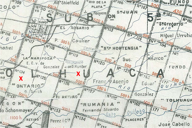 "Detail from 1917 map of properties in Malleco Province, ""X""s mark the Fundo Ontario and John Hunter parcels."