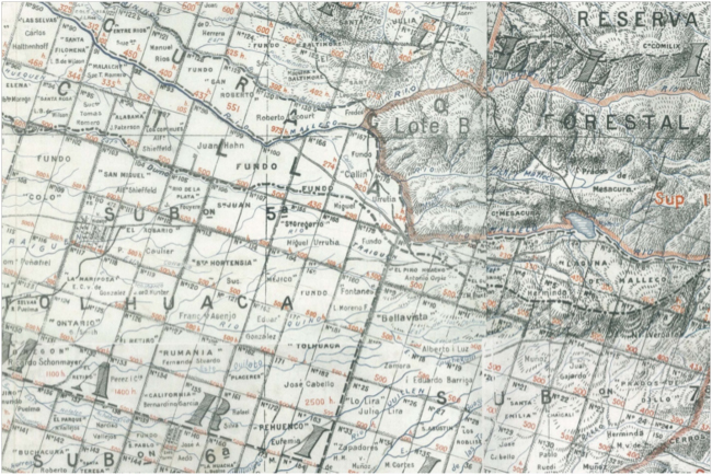 "Detail from 1917 map of property owners in Malleco Province, Chile. Red ""X"" marks location of Fundo Ontario."