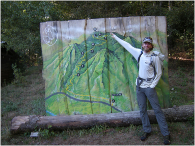 Jonathan Byers pointing to our destination on a map of El Cañi