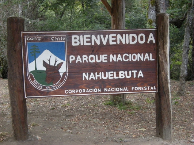 Entrance sign, Parque Nacional Nahuelbuta