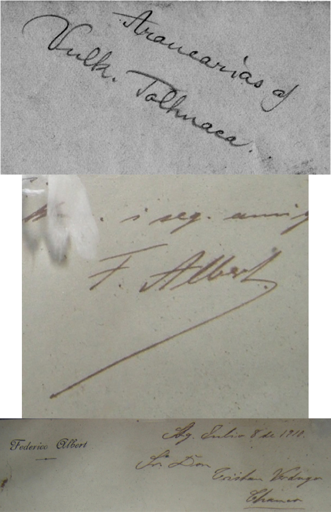 Handwriting comparison of caption of photo given to Muir with letter from Albert to his contact in Chanco