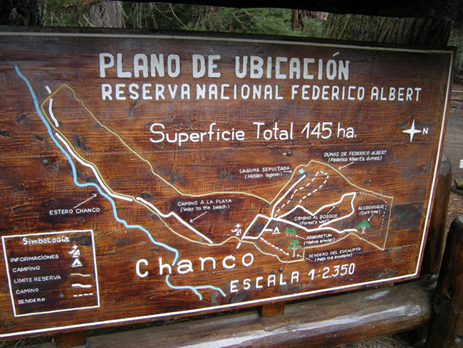 Map at the entrance station, Reserva Nacional Federico Albert