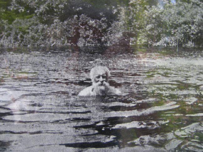 John Burroughs swimming, uncaptioned photo in the information kiosk at the bottom of the road up to Slabsides