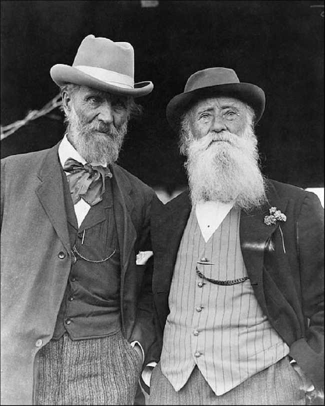 John Muir and John Burroughs on Burroughs's 75th birthday, April 3, 1912. (Photo credit Underwood and Underwood)