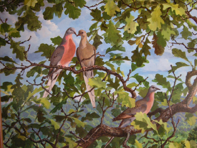 Passenger pigeons, detail from a mural at the International Crane Foundation, Baraboo, Wisconsin