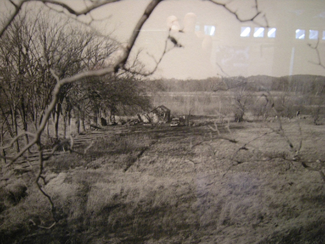 Photo of the farm and shack in 1935, taken from the top of a tree at the gate on Levee Road. Leopold Foundation Center.