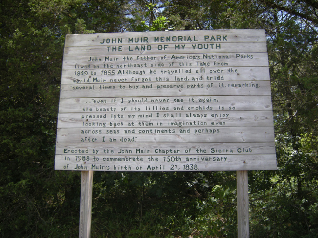 Sign at the John Muir Memorial County Park