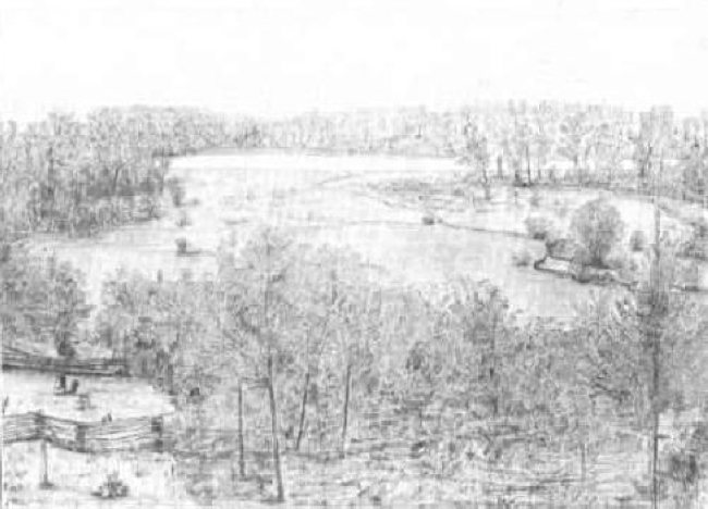 John Muir's sketch of Fountain Lake from the house, reproduced in The Story of My Boyhood and Youth, 1913.