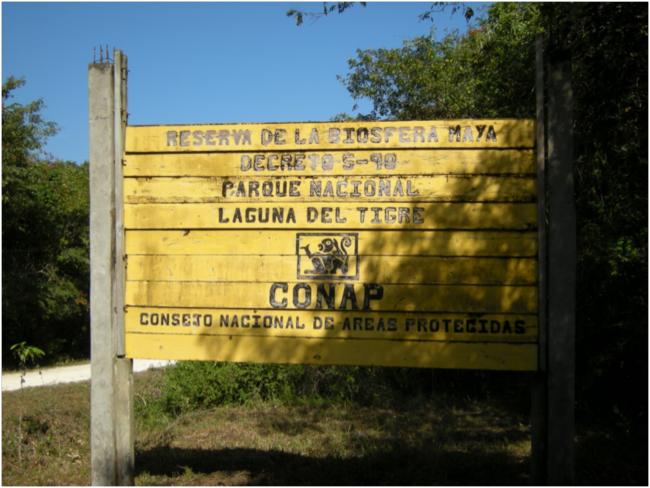 Entrance gate sign at Laguna de Tigre National Park