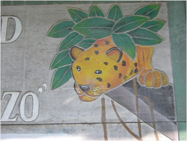 "Jaguar on the sign at the office of Sociedad Civil ""El Esfuerzo"""