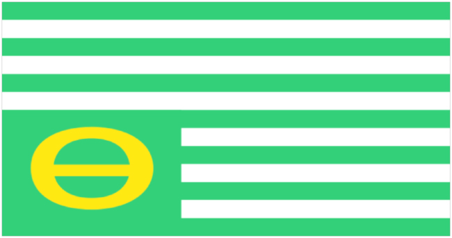 Ecology flag flying upside-down, in distress. Image courtesy of Wikipedia.