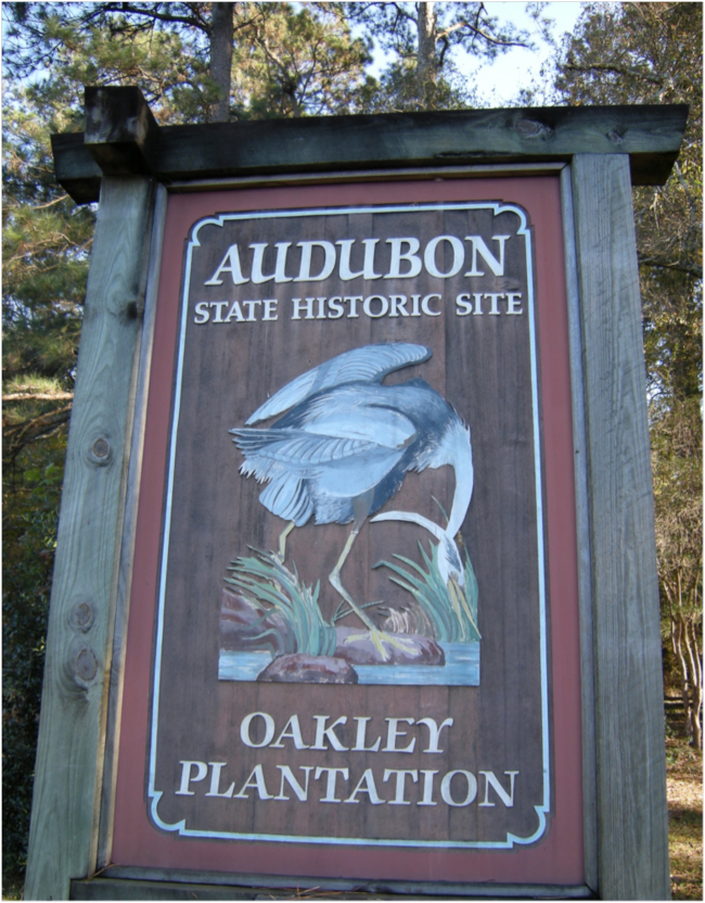 Entrance sign, Oakley Plantation, Audubon State Historic Site