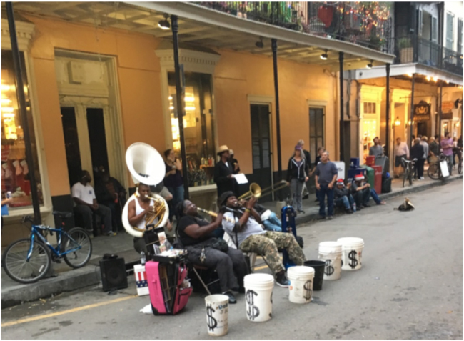 Doreen's Jazz Band playing on Royal Street, French Quarter, December 2016