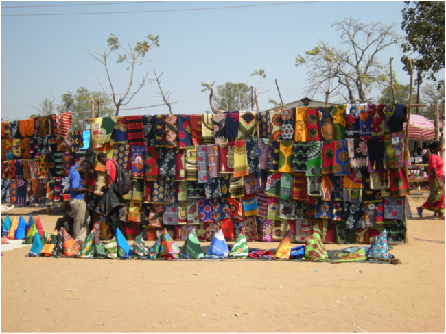 Chitenge for sale in the market at the Mangochi turnoff