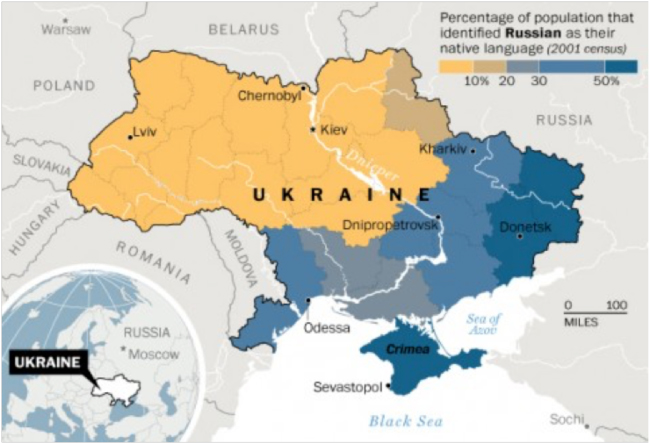Linguistic map of Ukraine from the Washington Post, 30 January 2014