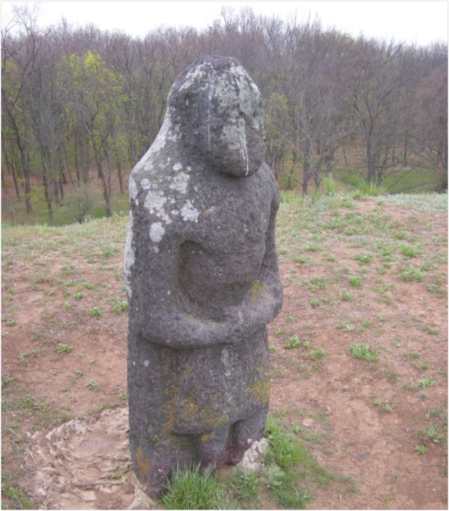 Scythian stone statue used to mark travel routes across the steppe