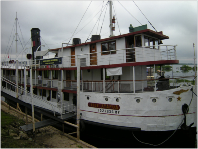 "The historic riverboat ""Ayapua,"" housing the Museo de Barcos Históricos"