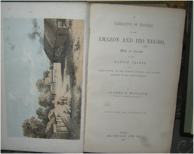 Title page of the original 1870 edition of Wallace's A Narrative of Travels on the Amazon and Rio Negro, Museo de Barcos Históricos, Iquitos
