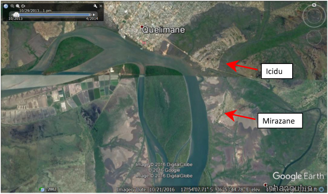 Google Earth view of intact and degraded mangroves near Quelimane, showing locations of Icidua and Mirazane. Image shows an area of approximately 12.8 km X 8.0 km.