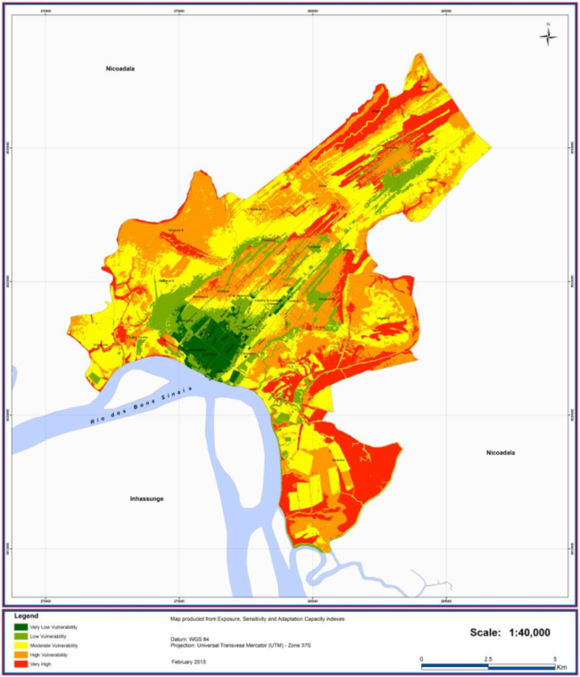 """Climate vulnerability map for Quelimane Municipality from CCAP: Icidua and Mirazane are areas of """"very high"""" vulnerability to climate change risks"""