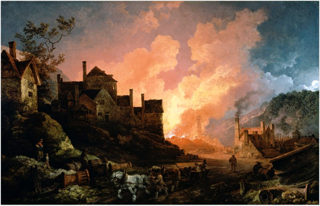 Coalbrookdale by Night. Philip de Loutherbourg, 1801.