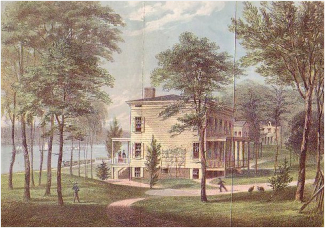 "Lithograph of ""The Audubon Estate on the Banks of the Hudson,"" depicted as it looked in the 1840s"