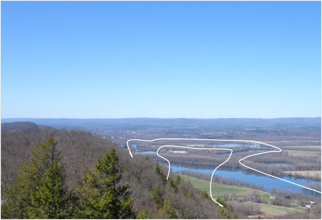 View of the Connecticut River from Mt. Holyoke, 23 April 2018. Lines show approximate position of the old oxbow in 1836.