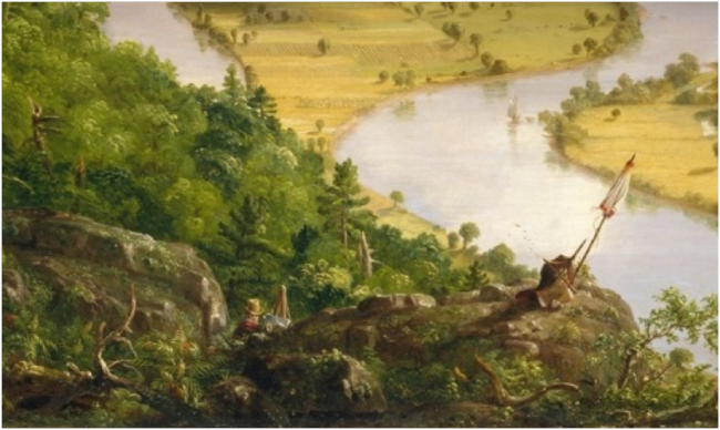 Cole's self-portrait with easel among the rocks, detail from The Oxbow