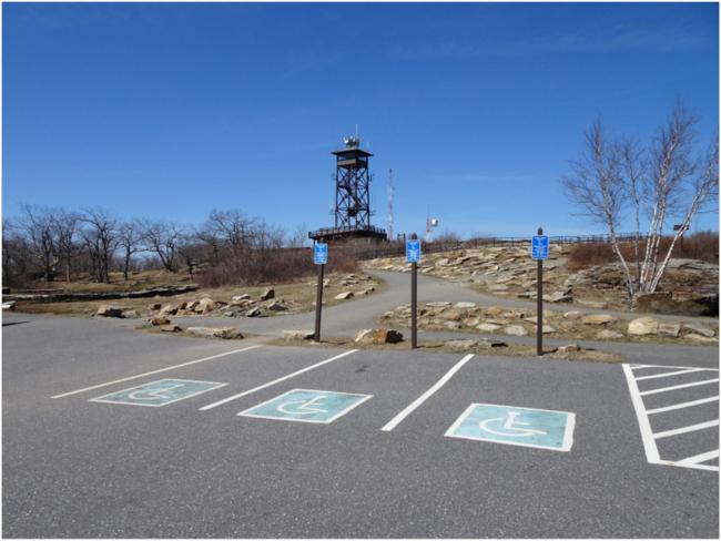 Handicapped parking and fire lookout tower on the Wachusett summit