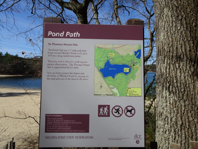 Sign and map for the Pond Path, Walden Pond State Reservation