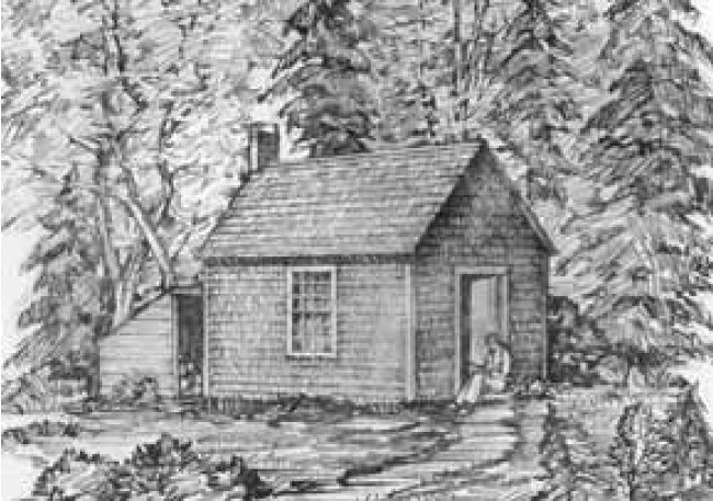 Sketch of Henry's house at Walden by his sister Sophia, used as the basis of a lithograph on the title page of the 1854 edition of Walden, or Life in the Woods
