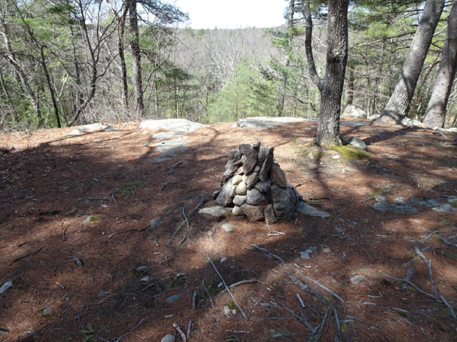 "Cairn on ""Emerson's Cliff,"" the high point south of Walden Pond, 24 April 2018"