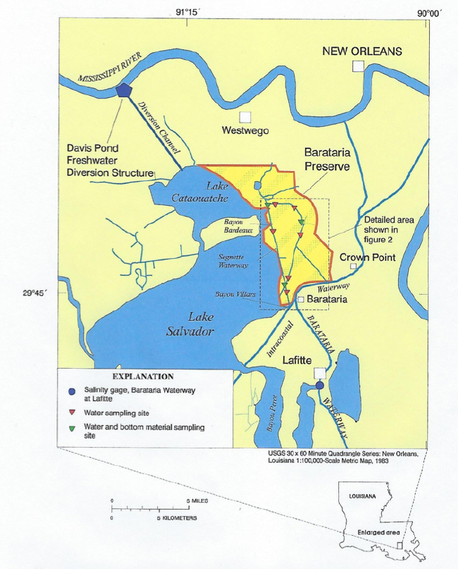 Location of Barataria Preserve. Source: Swarzenski, C.M., 2004, U.S. Geological Survey.